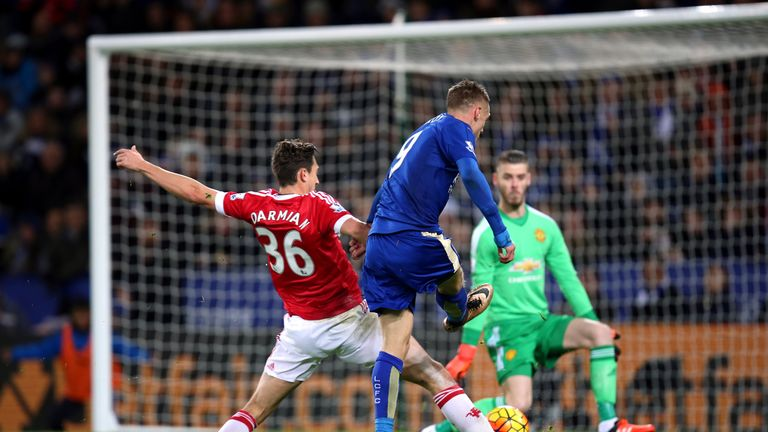 Leicester City's Jamie Vardy scores his side's first goal of the game during the Barclays Premier League match against Manchester United