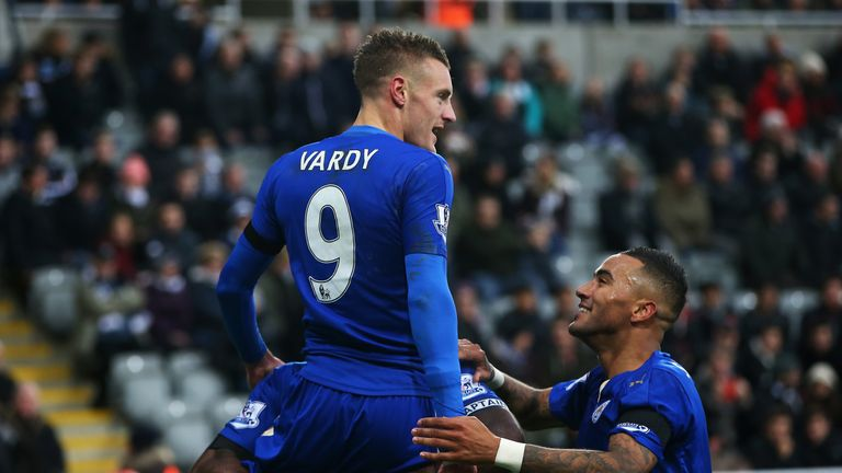 Jamie Vardy scores in his 10th consecutive game for Leicester against Newcastle