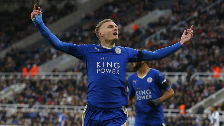 Jamie Vardy scored for the 10th successive Premier League game against Newcastle