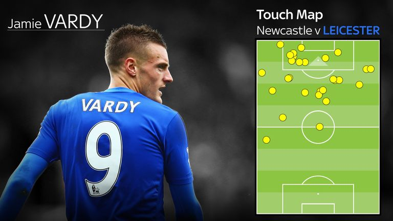 Jamie Vardy Leicester City touchmap Newcastle