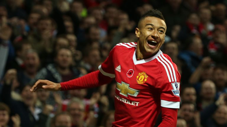 Jesse Lingard of Manchester United celebrates scoring their first goal against West Bromwich Albion