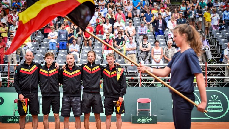 Johan Van Herck, David Goffin, Steve Darcis, Ruben Bemelmans and Kimmer Coppejans pictured ahead of their quarter-final tie with Canada