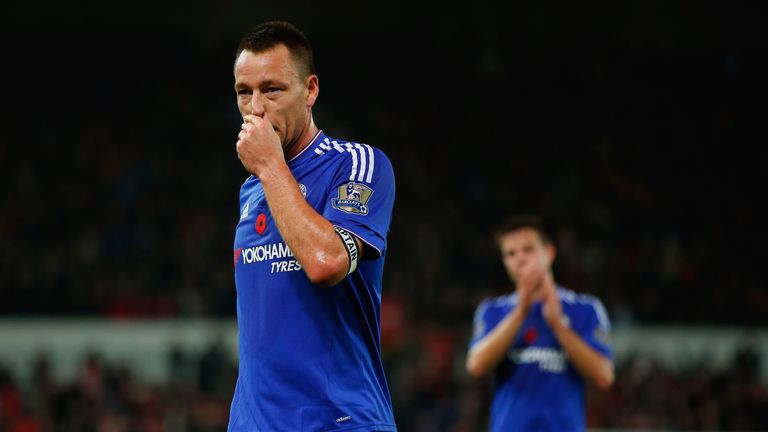 John Terry of Chelsea reacts after his team's 0-1 defeat in the Barclays Premier League match between Stoke City and Chelsea