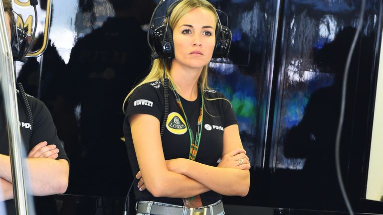 The race director's favourite: Development driver Carmen Jorda was reguarly noticed in the Lotus garage by the TV cameras - Picture by Mark Sutton, Sutton