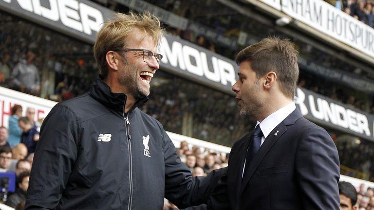 Liverpool manager Jurgen Klopp greets Tottenham Coach Mauricio Pochettino ahead of the Premier League match at White Hart Lane