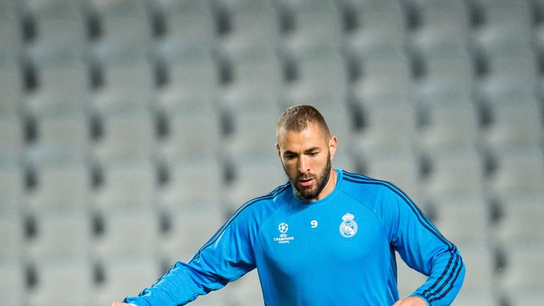 Karim Benzema during a Real Madrid training session