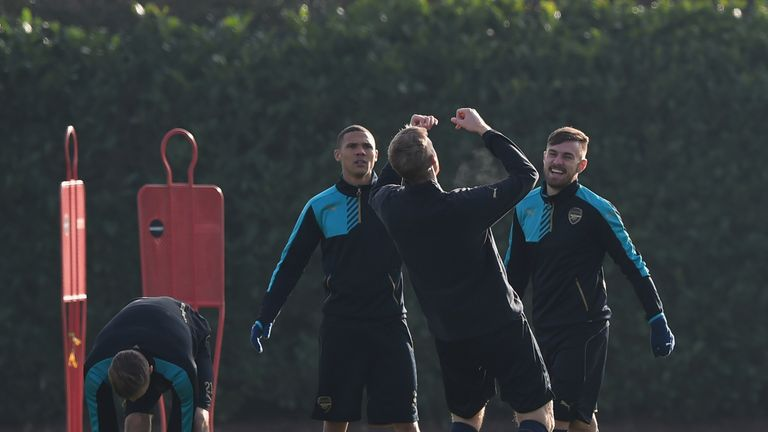 Kieran Gibbs, Per Mertesacker, Aaron Ramsey, Arsenal training session, London Colney
