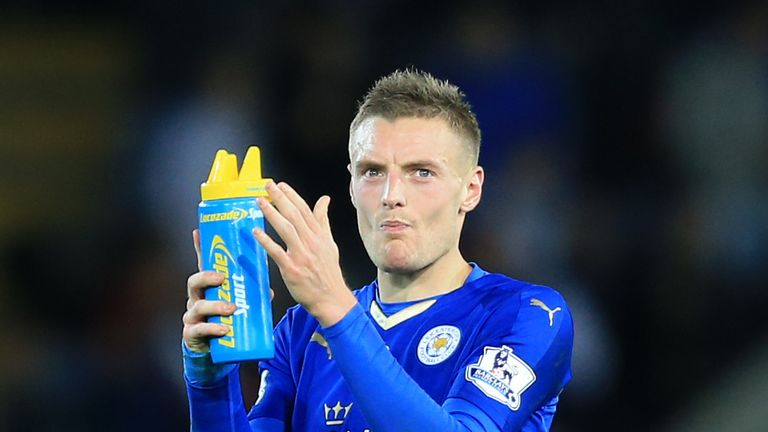 Leicester City's Jamie Vardy applauds the home fans at the end of the Barclays Premier League match against Watford.