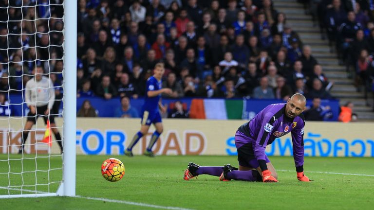 Watford goalkeeper Heurelho Gomes lets a shot from Leicester City's N'Golo Kante into the net for the opening goal of the game
