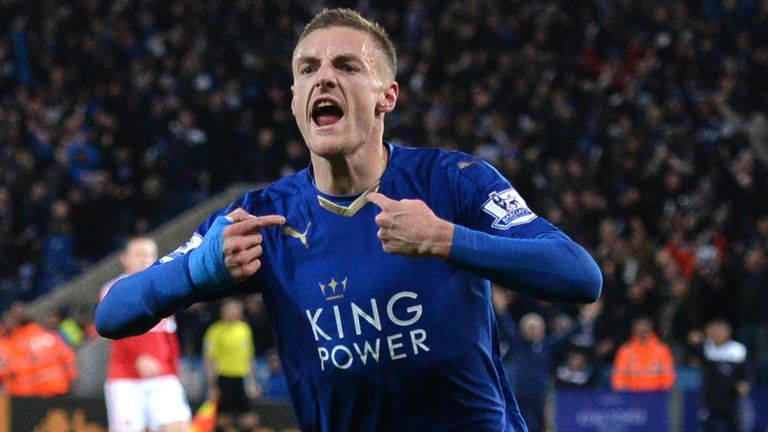 Leicester's Jamie Vardy celebrates after putting his side a goal to the good over Man United