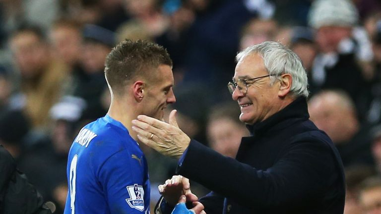 Leicester City manager Claudio Ranieri congratulates Jamie Vardy during the game at Newcastle