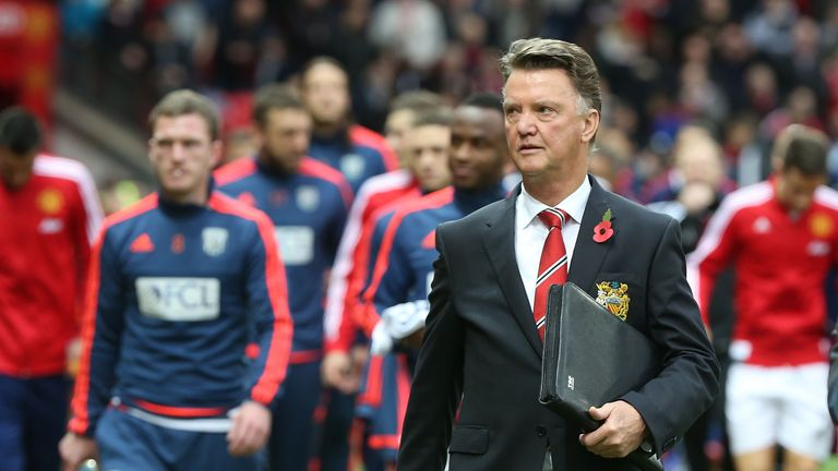 Manager Louis van Gaal of Manchester United walks out ahead of the Barclays Premier League match between Manchester United and West Brom at Old Trafford