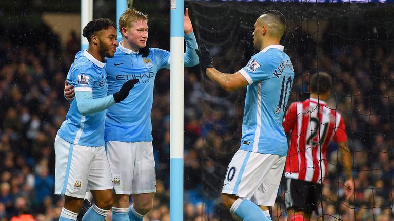 Manchester City's Kevin De Bruyne celebrates scoring his sides first goal of the match with team-mate Raheem Sterling and Sergio Aguero