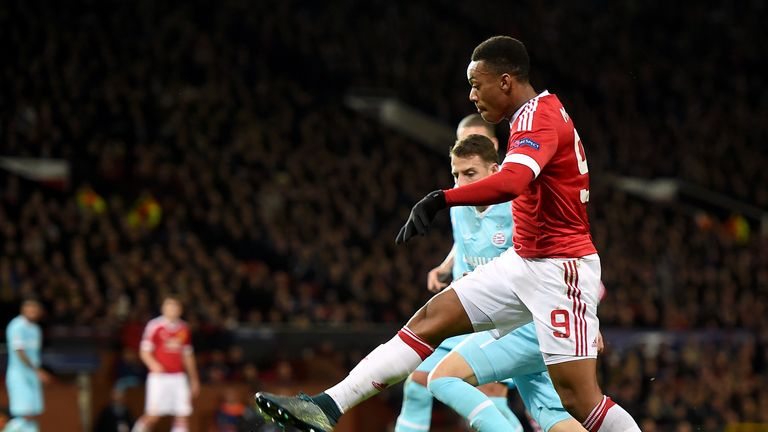 Manchester United's Anthony Martial with an effort on goal during the UEFA Champions League game at Old Trafford, Manchester.