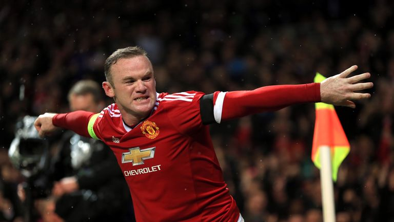 Manchester United's Wayne Rooney celebrates scoring the winner against CSKA Moscow