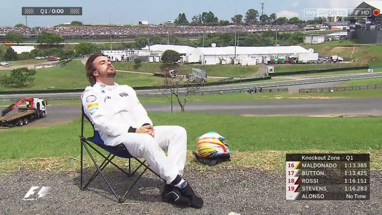 Fernando Alonso catches some rays at Interlagos