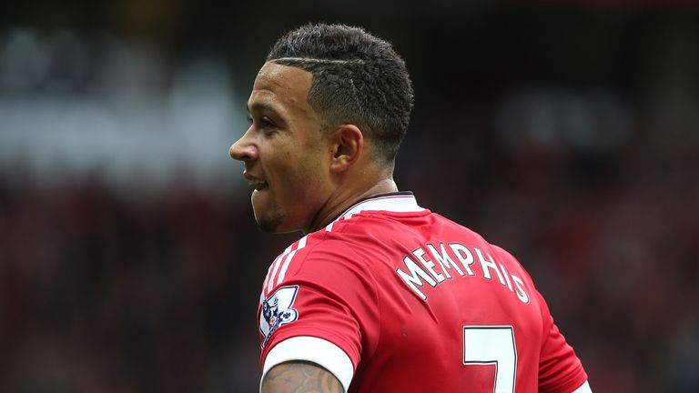 Memphis Depay of Manchester United in action during the Barclays Premier League match between Manchester United and Sunderland