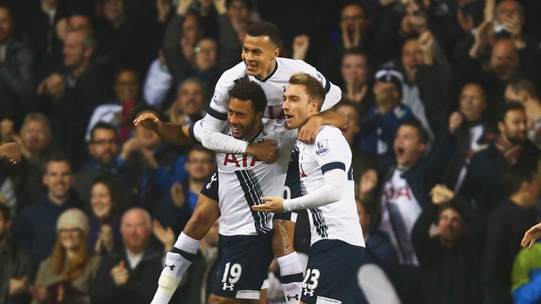 Mousa Dembele of Tottenham Hotspur (19) is mobbed by team-mates Dele Alli and Christian Eriksen (23) as he celebrates his goal v Aston Villa
