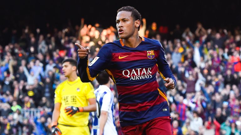 Neymar of FC Barcelona celebrates after scoring the opening goal against Real Sociedad