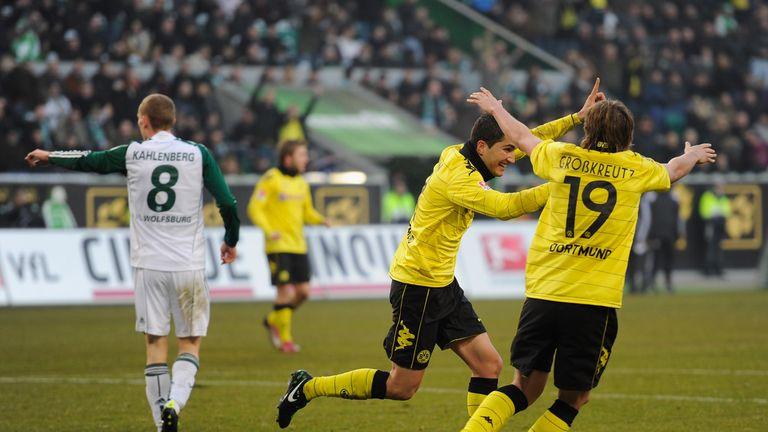 Nuri Sahin celebrates after scoring for Borussia Dortmund at Wolfsburg in January 2011