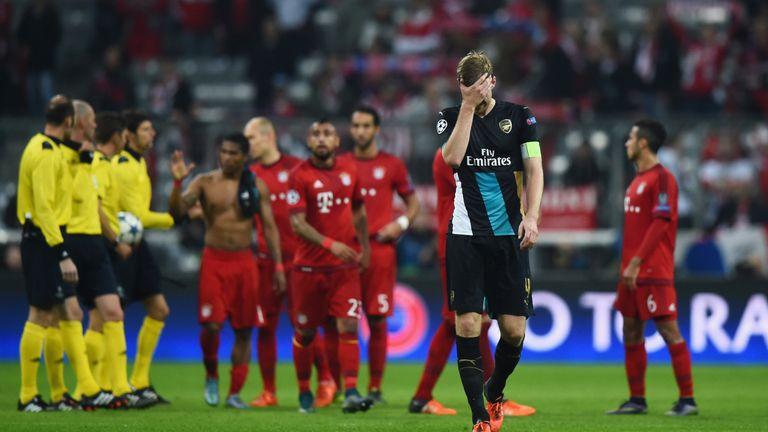 Per Mertesacker dejected, Bayern Munich v Arsenal, Champions League