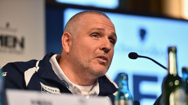 Peter Fury looks on during a press conference