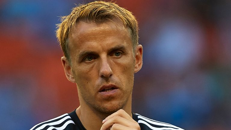 VALENCIA, SPAIN - AUGUST 19:  Valencia CF assistant coach Phil Neville looks on prior to the UEFA Champions League Qualifying Round Play Off First Leg matc
