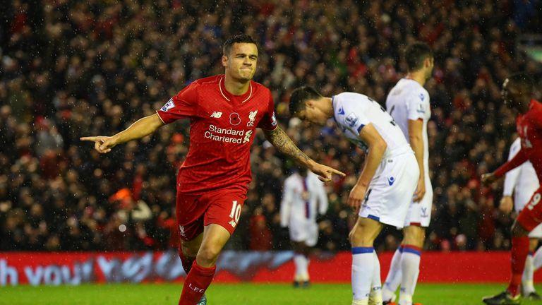 Philippe Coutinho goal celeb, Liverpool v Crystal Palace, Premier League