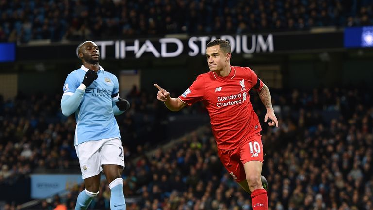 Philippe Coutinho scored Liverpool's second in a 4-1 win over Man City