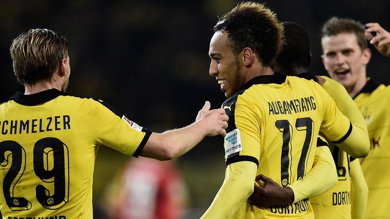 Pierre-Emerick Aubameyang celebrates after scoring for Dortmund