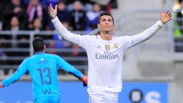 Real Madrid's Cristiano Ronaldo celebrates after scoring against Eibar