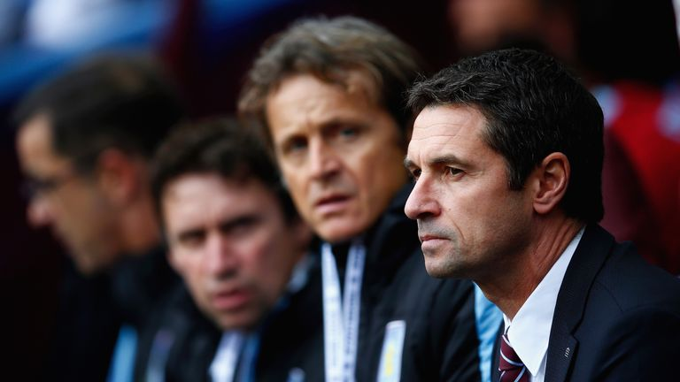 Remi Garde looks on before the Barclays Premier League match between Aston Villa and Manchester