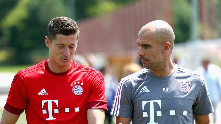 Robert Lewandowski and Pep Guardiola