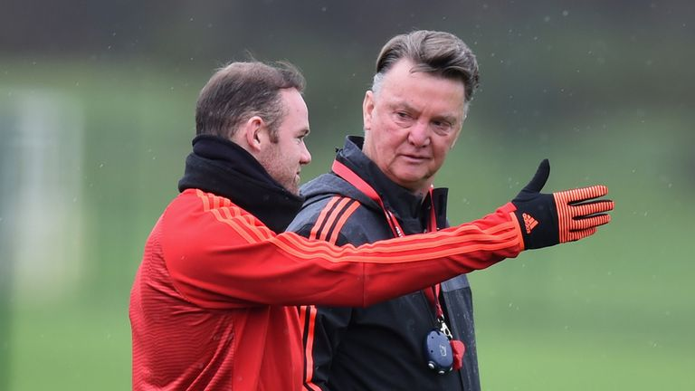 Wayne Rooney and Louis van Gaal at training on Tuesday ahead of their Champions League test
