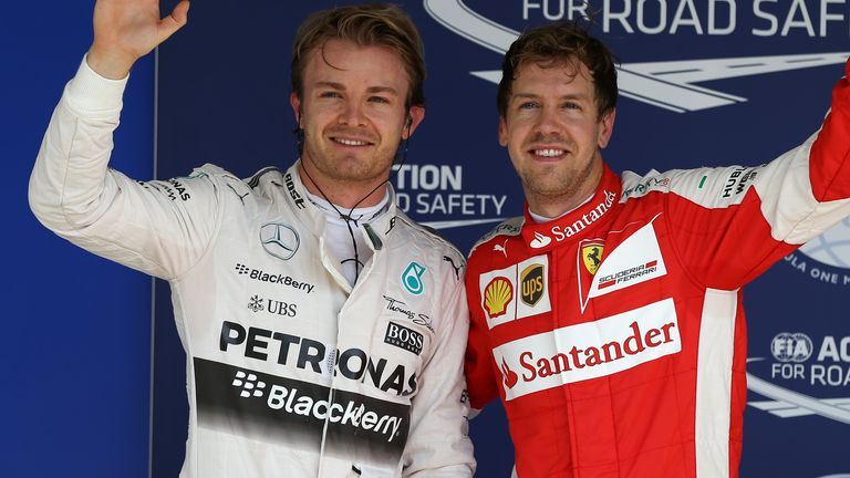 Nico Rosberg (left) clinched pole position for the fifth race in a row