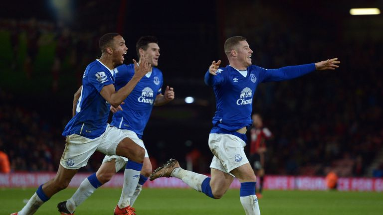 Everton's Ross Barkley celebrates scoring their third goal during the Barclays Premier League match at Vitality Stadium, Bournemouth