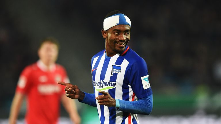 Salomon Kalou (right) struck a hat-trick as Hertha Berlin moved up to fourth