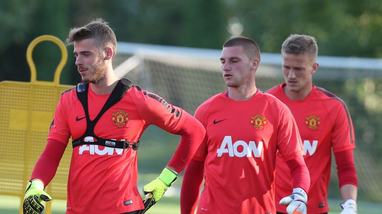 Johnstone (centre) pictured with David De Gea and Anders Lindegaard this summer