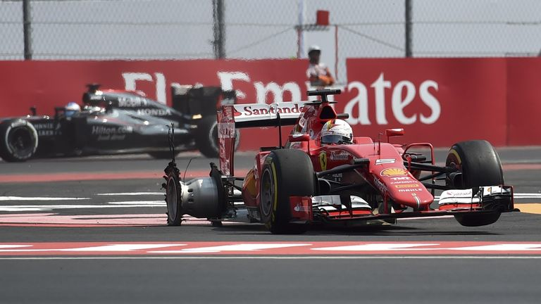 Sebastian Vettel endured a difficult afternoon in Mexico