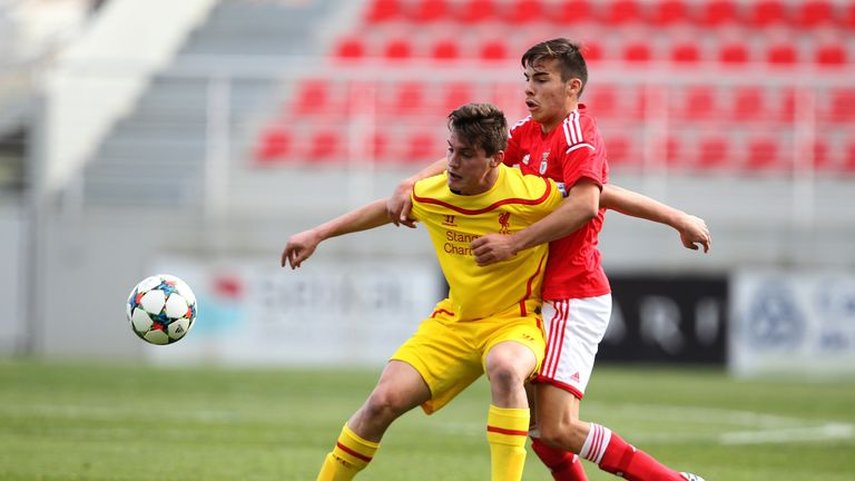 Canos in action for Liverpool's U19s in a UEFA Youth League clash with Benfica in February