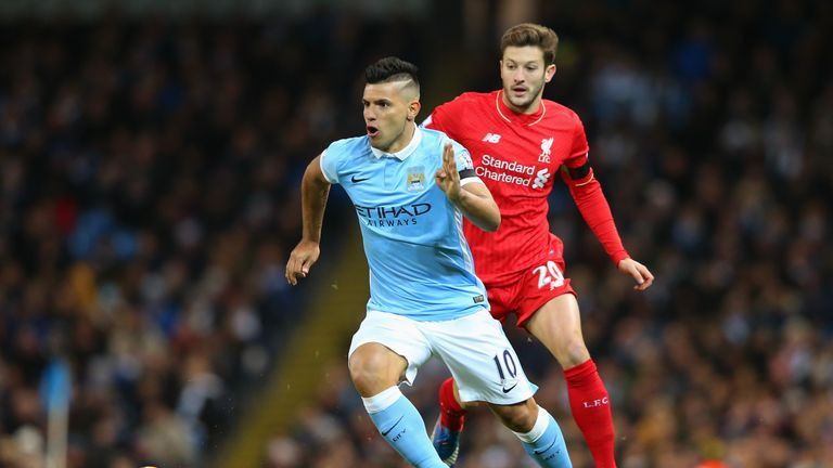 Sergio Aguero of Manchester City and Adam Lallana of Liverpool during the Barclays Premier League match