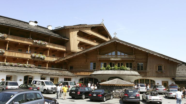 Stanglwirt Hotel is a giant wooden construction outside Kitzbuhel