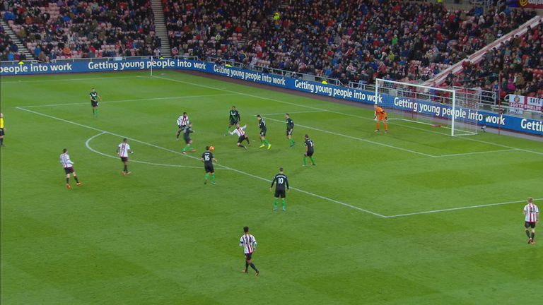 Steven Fletcher goes down under a challenge in the penalty area from Geoff Cameron in Sunderland's 2-0 win over Stoke