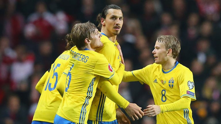 Ibrahimovic is congratulated after scoring Sweden's second goal on Tuesday