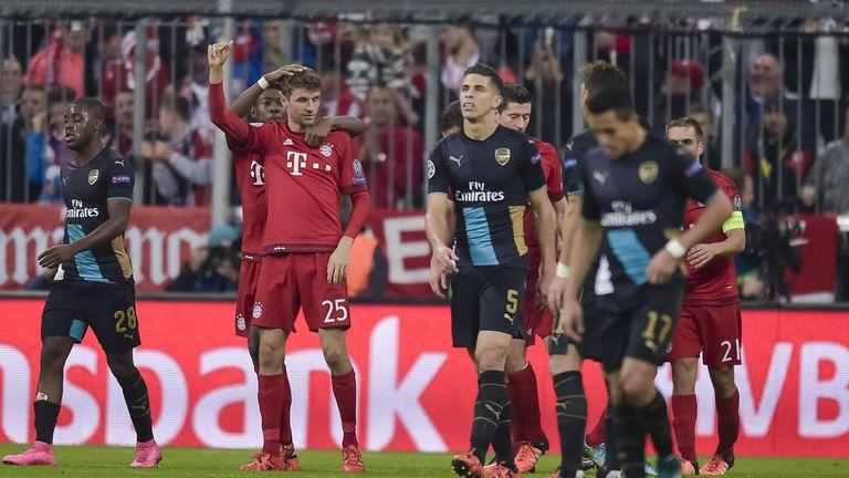 Thomas Muller celebrates Bayern's second goal at the Allianz Arena