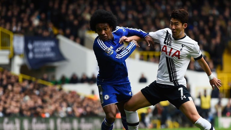 Willian of Chelsea battles with Son Heung-Min of Tottenham during November's goalless draw