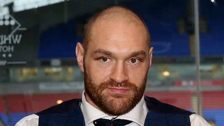 Tyson Fury during a homecoming event at the Macron Stadium, Bolton