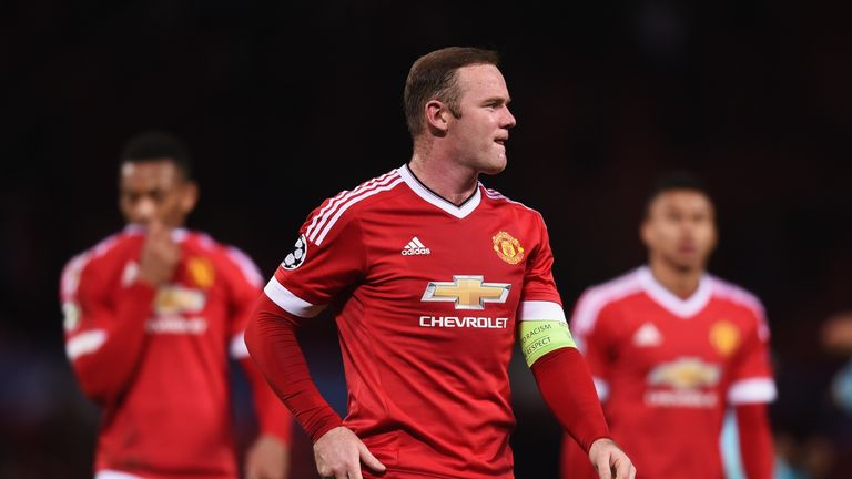 Wayne Rooney looks on after the UEFA Champions League Group B match between Manchester United and PSV Eindhove
