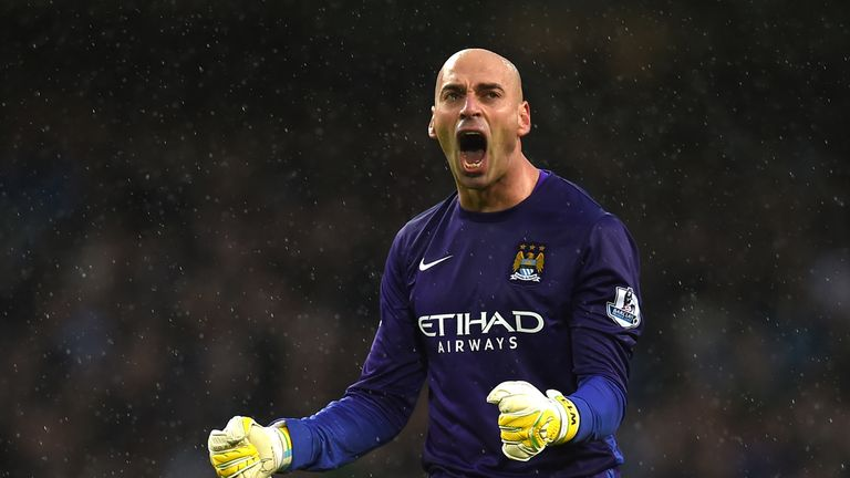 Willy Cabellero celebrates Manchester City's second goal against Southampton