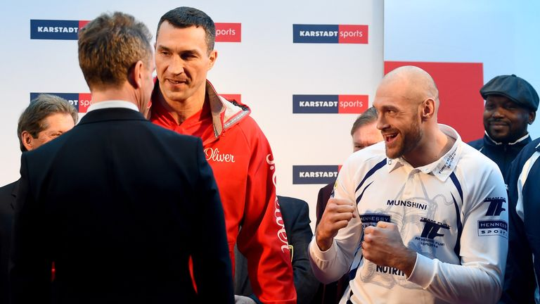 Fury was in good spirits at the weigh-in ahead of Saturday's bout with Wladimir Klitschko